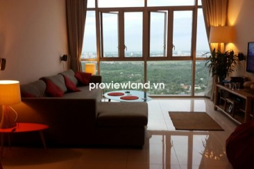 The Vista apartment for rent T1 Tower on high floor has 3 bedrooms with nice view to city